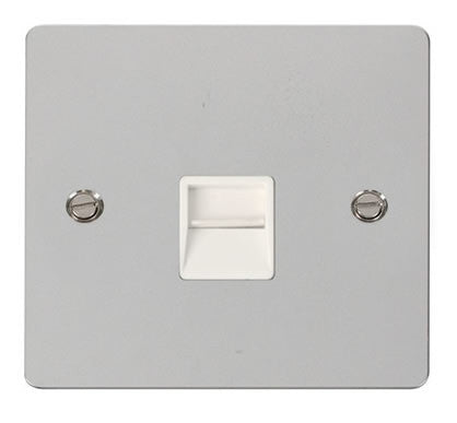 Flat Plate Polished Chrome Single Telephone Socket Master  - White
