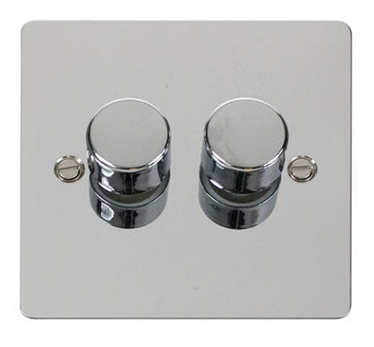 Flat Plate Polished Chrome 2 Gang 2 Way 400w Dimmer Switch - Black