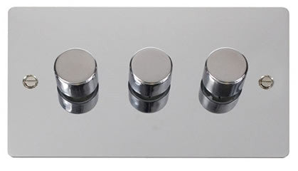 Flat Plate Polished Chrome 3 Gang 2 Way 400w Dimmer Switch - Black