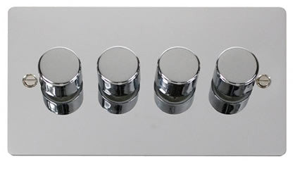 Flat Plate Polished Chrome 4 Gang 2 Way 400w Dimmer Switch - Black