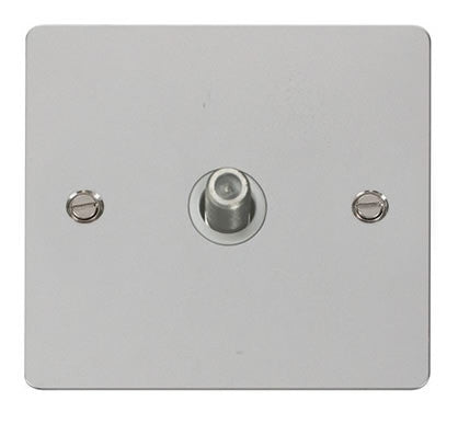 Flat Plate Polished Chrome 1 Gang Satellite Socket  - White