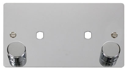 Flat Plate Polished Chrome 2 Gang Plate 2 Module (1630w Max) - Black