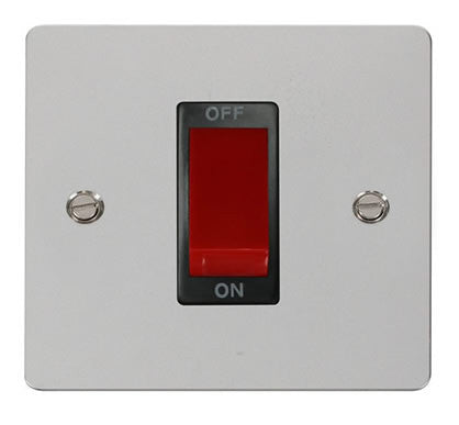 Flat Plate Polished Chrome 1 Gang 45A DP Switch  - Black