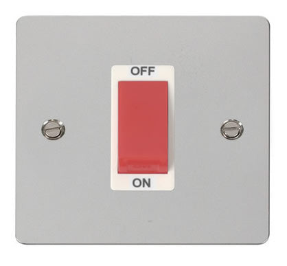 Flat Plate Polished Chrome 1 Gang 45A DP Switch  - White