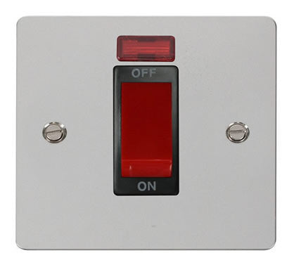 Flat Plate Polished Chrome 1 Gang 45A DP Switch + Neon  - Black