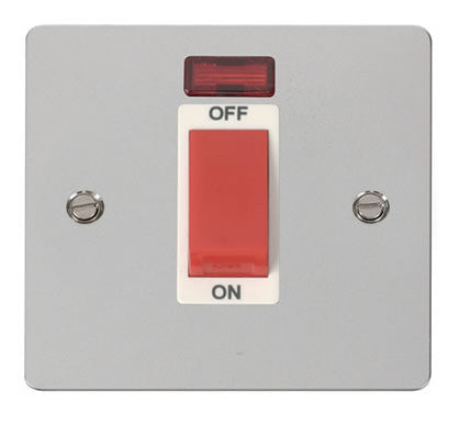 Flat Plate Polished Chrome 1 Gang 45A DP Switch + Neon  - White