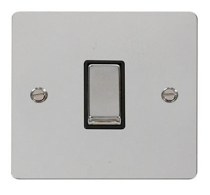 Flat Plate Polished Chrome Ingot 10AX 1 Gang 2 Way Switch  - Black
