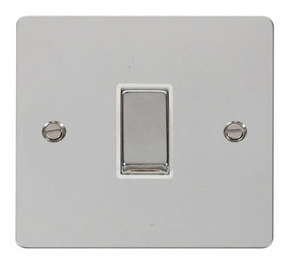 Flat Plate Polished Chrome Ingot 10AX 1 Gang 2 Way Switch  - White