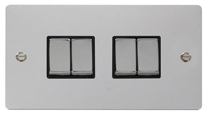 Flat Plate Polished Chrome Ingot 10AX 4 Gang 2 Way Switch  - Black
