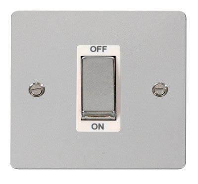 Flat Plate Polished Chrome Ingot 1 Gang 45A DP Switch - White