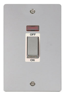 Flat Plate Polished Chrome Ingot 2 Gang 45A DP Switch With Neon - White