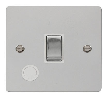 Flat Plate Polished Chrome Ingot 20A 1 Gang DP Switch + Flex   - White