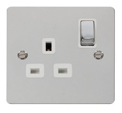 Flat Plate Polished Chrome Ingot 1 Gang 13A DP Switched Socket  - White
