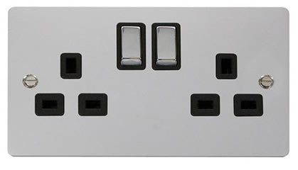 Flat Plate Polished Chrome Ingot 2 Gang Twin Double 13A DP Switched Socket  - Black