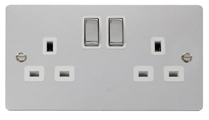 Flat Plate Polished Chrome Ingot 2 Gang Twin Double 13A DP Switched Socket  - White