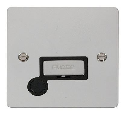 Flat Plate Polished Chrome Ingot 13A Connection Unit  + Flex - Black