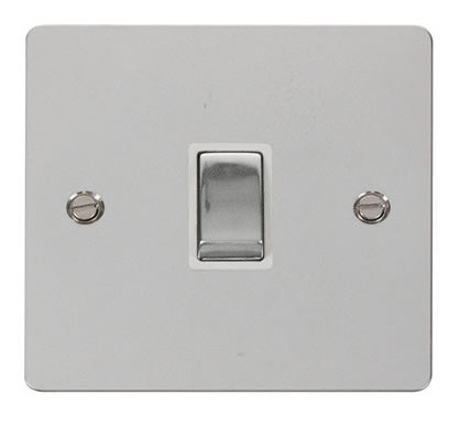 Flat Plate Polished Chrome Ingot 20A 1 Gang DP Switch   - White
