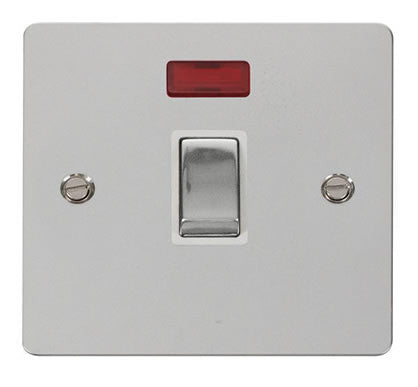 Flat Plate Polished Chrome Ingot 20A 1 Gang DP Switch  + Neon  - White
