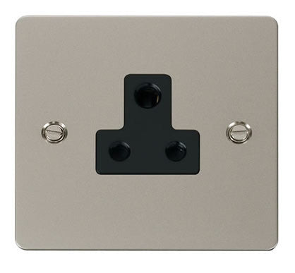 Flat Plate Pearl Nickel 5A Round Pin Socket  - Black