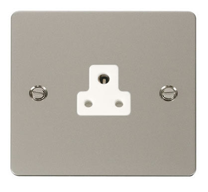 Flat Plate Pearl Nickel 2A Round Pin Socket  - White