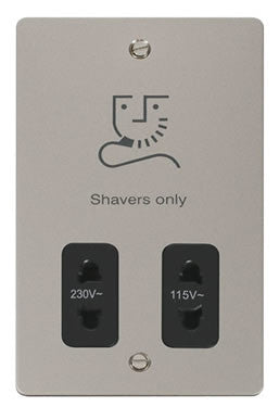 Flat Plate Pearl Nickel 115/230v Shaver Socket - Black