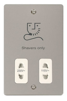 Flat Plate Pearl Nickel 115/230v Shaver Socket - White