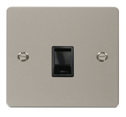 Flat Plate Pearl Nickel Single Rj11 Socket - Black