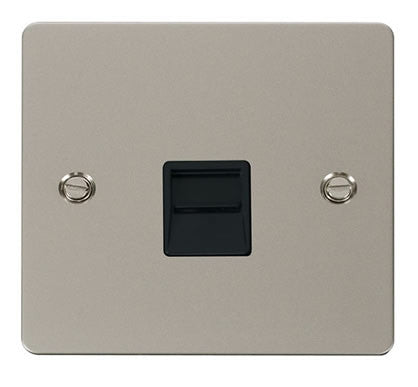 Flat Plate Pearl Nickel Single Telephone Socket Master  - Black
