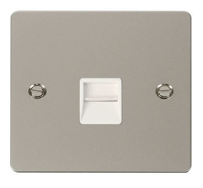 Flat Plate Pearl Nickel Single Telephone Socket Master  - White