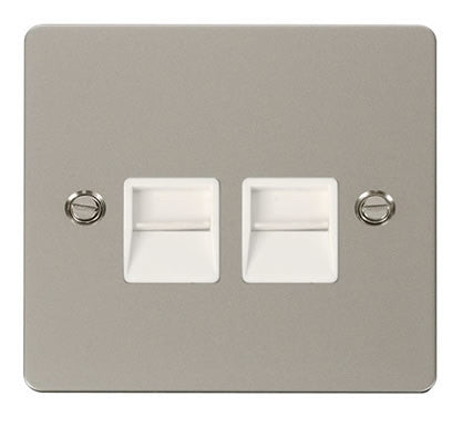Flat Plate Pearl Nickel Twin Telephone Socket Secondary  - White