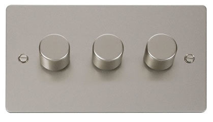 Flat Plate Pearl Nickel 3 Gang 2 Way 400w Dimmer Switch - White