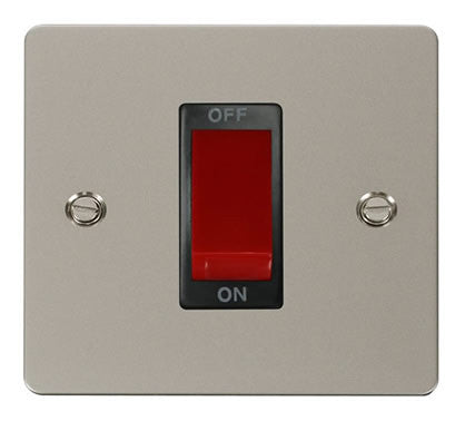 Flat Plate Pearl Nickel 1 Gang 45A DP Switch  - Black