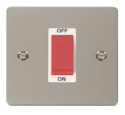 Flat Plate Pearl Nickel 1 Gang 45A DP Switch  - White