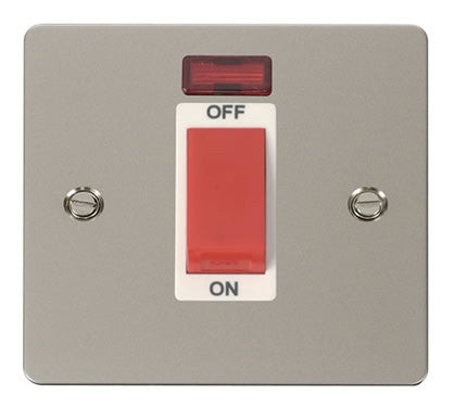 Flat Plate Pearl Nickel 1 Gang 45A DP Switch + Neon  - White