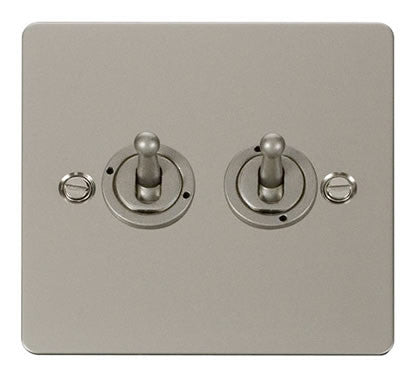 Flat Plate Pearl Nickel 10AX 2 Gang 2 Way Toggle  switch - White
