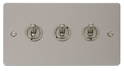 Flat Plate Pearl Nickel 10AX 3 Gang 2 Way Toggle  switch - White