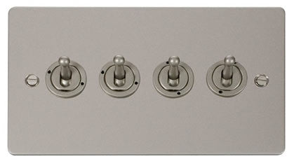 Flat Plate Pearl Nickel 10AX 4 Gang 2 Way Toggle  switch - Black