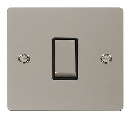 Flat Plate Pearl Nickel Ingot 10AX 1 Gang Intermediate Switch  - Black