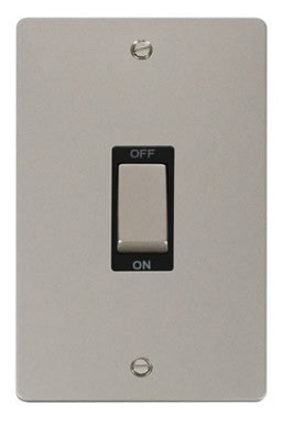 Flat Plate Pearl Nickel Ingot 2 Gang 45A DP Switch - Black