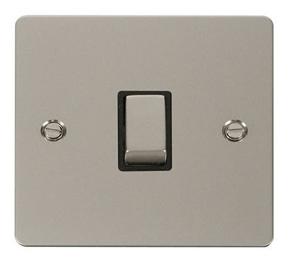 Flat Plate Pearl Nickel Ingot 20A 1 Gang DP Switch   - Black