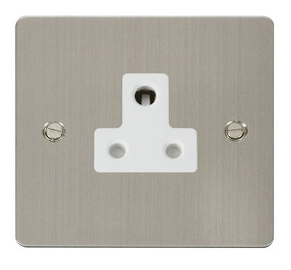 Flat Plate Stainless Steel 5A Round Pin Socket  - White