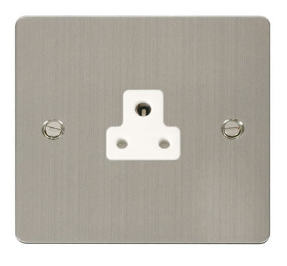 Flat Plate Stainless Steel 2A Round Pin Socket  - White