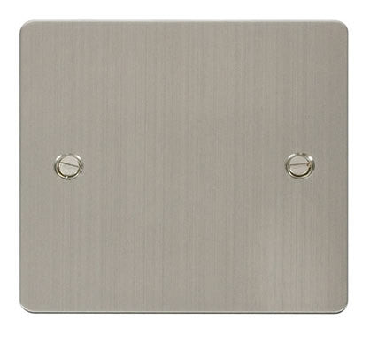 Flat Plate Stainless Steel 1 Gang Blank Plate - White