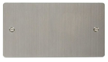 Flat Plate Stainless Steel 2 Gang Blank Plate - White