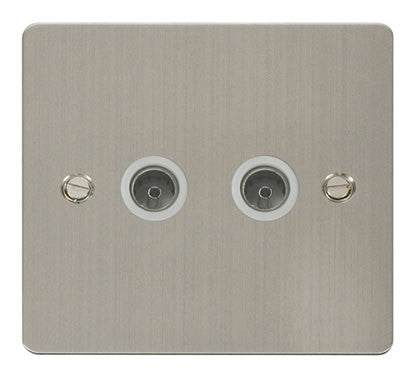 Flat Plate Stainless Steel 2 Gang Coaxial Socket  - White