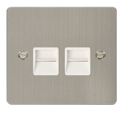 Flat Plate Stainless Steel Twin Telephone Socket Master  - White