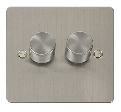 Flat Plate Stainless Steel 2 Gang 2 Way 400w Dimmer Switch - White