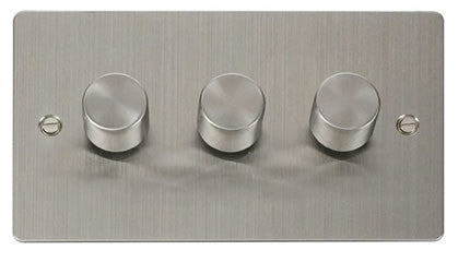 Flat Plate Stainless Steel 3 Gang 2 Way 400w Dimmer Switch - White