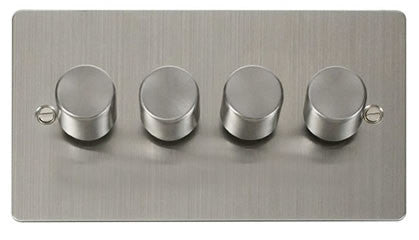 Flat Plate Stainless Steel 4 Gang 2 Way 400w Dimmer Switch - White