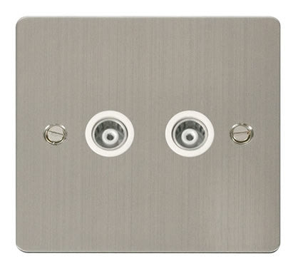 Flat Plate Stainless Steel 2 Gang Isolated Coaxial Socket  - White